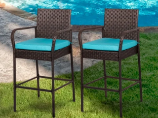 Kinbor Set of 2 Patio Bar Stool Outdoor Wicker Barstool Backyard High Chair Pool Furniture with Cushions Retail 152 99