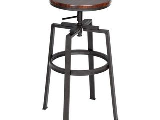 FurnitureR AMAT WAlNUT JM Adjustable Height Swivel Bar Stool