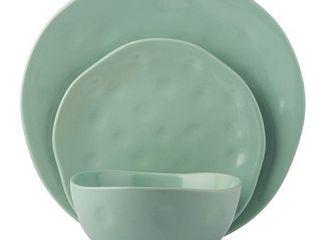 Melange Stoneware 18 Piece Irregular Shape Dinnerware Set  Mint  Service for 6 Microwave  Dishwasher   Oven Safe Dinner Plate  Salad Plate   Soup Bowl  6 Each