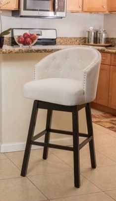 Ogden 35 inch Fabric Swivel Backed Barstool by Christopher Knight Home