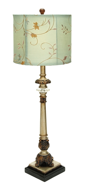 Pair of Metal Buffet lamps With Beige Colored Shades