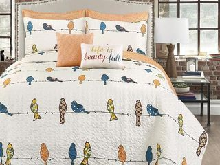 7pc Full Queen Rowley Birds Quilt Set White   lush DAccor
