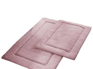 2 Pack Non Slip Soft Cotton Bath Rug Set in Dusty Rose