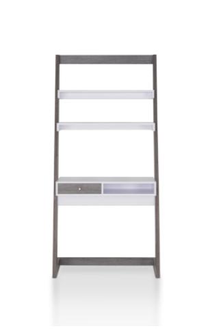 Furniture of America Tall Contemporary Bookcase Distressed Grey   White IDI 151337