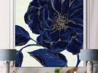 Designart  Dark Rose Gilded Gold  Floral Canvas Artwork   Blue Retail 85 49