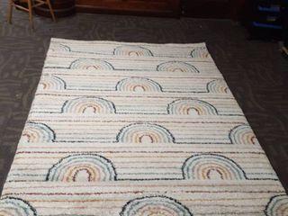 Hailey Rainbow Print Moroccan Shag Area Rug  Retail 194 99