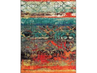Mohawk Home Strata Eroded Color Multi Contemporary Abstract Printed Area Rug  3 9 x5  Teal   Orange