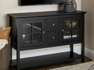 Walker Edison 52  Wood Console Table Buffet TV Stand for TV s up to 55    Black