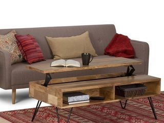 Carbon loft Quarmby Solid Mango Wood and Metal lift Top Coffee Table   48 W x 24 D x 22 H Retail 457 49