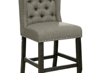 Furniture of America Counter Height Chair Antique Black and light Gray