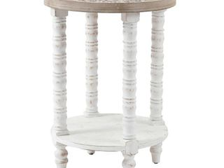 luxen Home 26 in  H White Wood Round Accent Table