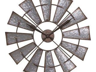 la Crosse Clock 404 3956 22 Inch Metal Windmill Quartz Wall Clock