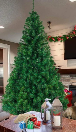 5 8ft Artificial Christmas Tree with Stand for Indoor and Outdoor Holiday Decoration