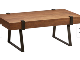 International Caravan Hamburg Contemporary Oak Veneer   Steel Coffee Table