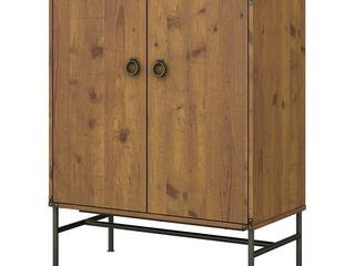 Ironworks Storage Cabinet with Doors Vintage Golden Pine   Kathy Ireland Home