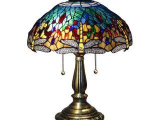 Serena d italia Tiffany 2 light Blue Dragonfly 23 in  Bronze Table lamp