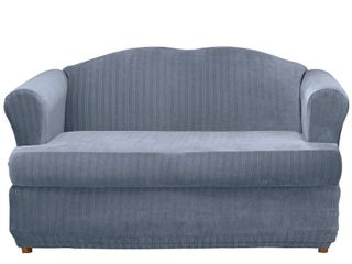 Stretch Pinstripe T Sofa Slipcover French Blue   Sure Fit