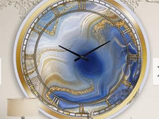 Designart  Ocean Blue Golden Jasper Agate I  Modern wall clock Retail 166 49
