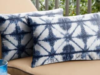 Sunbrella Indigo Geometric Indoor Outdoor Pillow