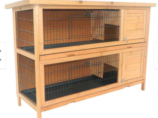Pawhut Brown Wood 2 Story Stacked Outdoor Rabbit House