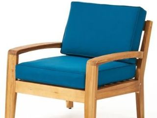 Grenada Outdoor Wood Chat Chair with Cushions by Christopher Knight Home