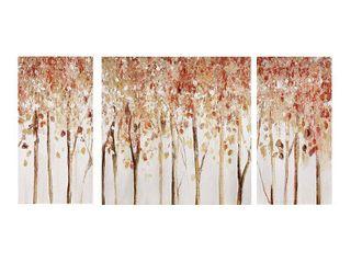 Set of 3  Autumn Forest Canvas Art Palette Knife Embellishment Red
