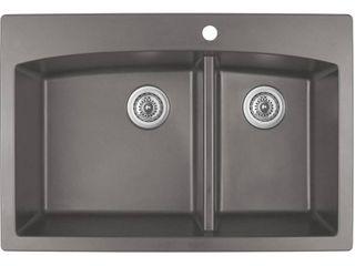 Karran Drop In Quartz Composite 33 in  1 Hole 60 40 Double Bowl Kitchen Sink in Concrete