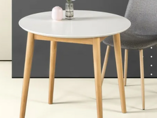 Priage By ZINUS White 32  Mid Century Modern Wood Round Dinning Room Table