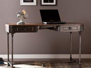 Southern Enterprises Edison Industrial 2 Drawer Desk in Gray
