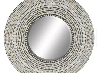 The Curated Nomad Biltmore 32 inch Wood with Shell Inlay Round Mirror Retail 149 99
