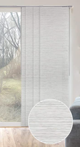 GoDear Design Natural Woven Adjustable Sliding Panel  Pleated Fabric  45 8  86  W x 96  l Retail 161 49