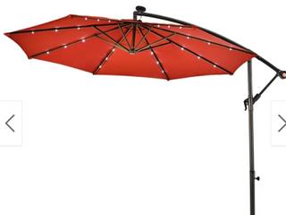 10Ft Patio Solar Umbrella Outdoor lED Sun Shade Offset W  Cross Base  Retail 169 99