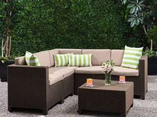 Waverly Outdoor 5 seater Sectional Set with Cushions by Christopher Knight Home  Retail 786 99
