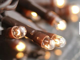 light String strand teeny twinkle Multi Function   140 Ct Clear Bulbs brown Cord