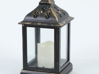 Black with Antique Gold Finish lantern with lED Candle