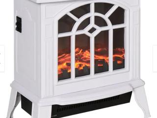 HOMCOM 16  1500W Freestanding Indoor Electric Fireplace Heater   White Retail 88 49