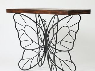 Butterfly Black and Brown Metal and Wood Accent Table Retail 159 99