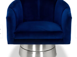 Silver Orchid Konstantin Blue Swivel Chair