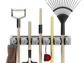 Shovel  Rake and Tool Holder with Hooks  Wall Mounted Organizer for Garage  Closet  or Shed Hang Home and Garden Tools Space Saving Rack by Stalwart
