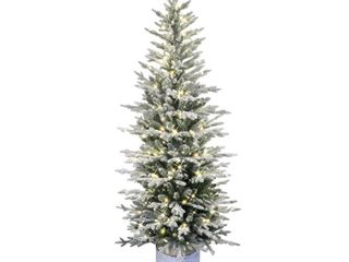PTO9760 60lW120 6 ft  Pre lit Potted Flocked Arctic Fir Pencil Artifical Christmas Tree with 120 Warm White lED lights