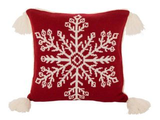 18  x 18  Knitted Acrylic Throw Pillow Cover with Tassels Red   Glitzhome