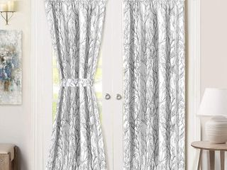 DriftAway Tree Branch Thermal Room Darkening Privacy French Curtain with Bonus Matching Tieback  52 Wide By 72  long  1 5  Header  Gray