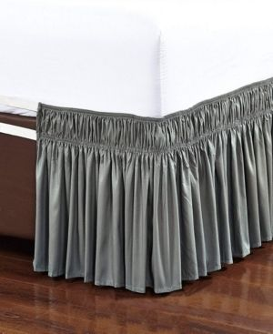 Wrap Around Bed Skirt  Elastic Dust Ruffle Easy Fit  Wrinkle and Fade Resistant   Queen King Bedding