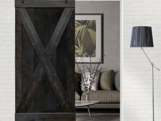 Calhome Barn Door Kit   Wooden Ebony Door and 8  of Track