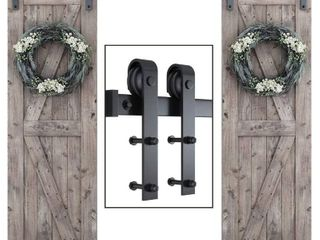 Smartstandard 8 Foot Heavy Duty Double Sliding Barn Door Hardware Kit