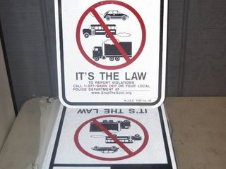 11 Metal Reflective No Idling Zone Signs 12  x 18