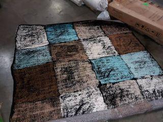 multicolored checkered rug
