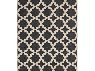 Modway Cerelia Moroccan Trellis 8x10 Indoor and Outdoor Area Rug in Black and Beige