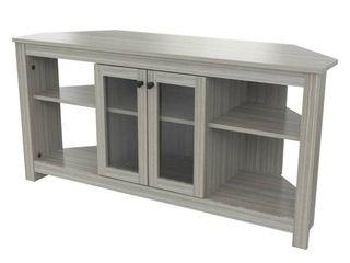 Corner TV Stand with Glass Doors Smoke Oak   Inval