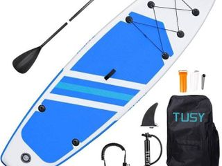 TUSY 11FT Inflatable Stand Up Paddle Board with SUP Accessories Travel Backpack  Non Slip Deck Adjustable Paddles  leash and Fin for Paddling Retail   255 74